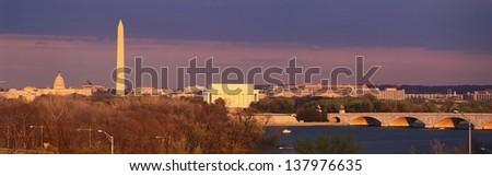 Historic Washington DC skyline at dusk - stock photo