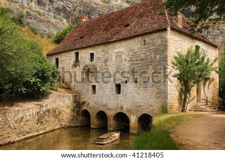 Historic water mill in dordogne, france