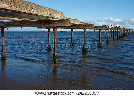 Historic waterfront of Punta Arenas running along the Magellan Strait in Patagonia, Chile - stock photo