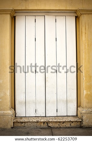 Historic White Door - stock photo