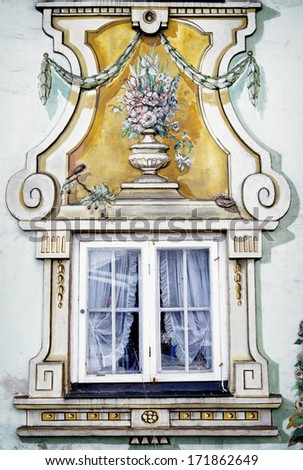 historic window at a town hall in bavaria - germany