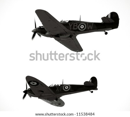 Historic ww2 aircraft the spitfire and hurricane - stock photo