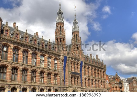 Historical Amsterdam shopping center Magna Plaza in Amsterdam, Holland - stock photo
