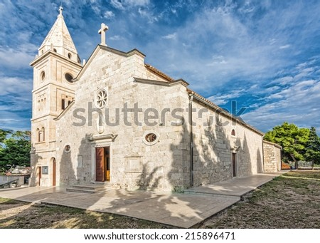 Historical ancient church Sveti Juraj in Primosten, Croatia