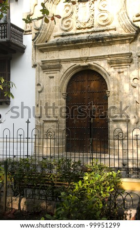 historical architecture entry Palace of the Inquisition Museum Historical of Cartagena de Indias Colombia at Bolivar Park - stock photo