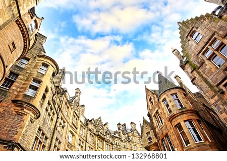 Historical architecture in the street of the Old Town in Edinburgh, Scotland - stock photo