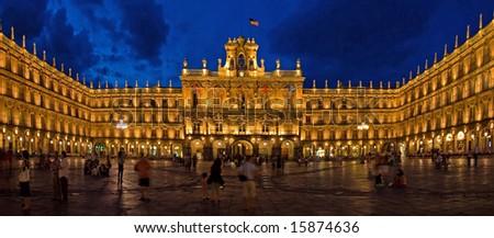 Historical Architecture of Plaza Mayor at Night, Salamanca, Spain - stock photo