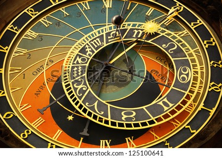 Historical, astronomical clock in the Old Town in Prague. - stock photo