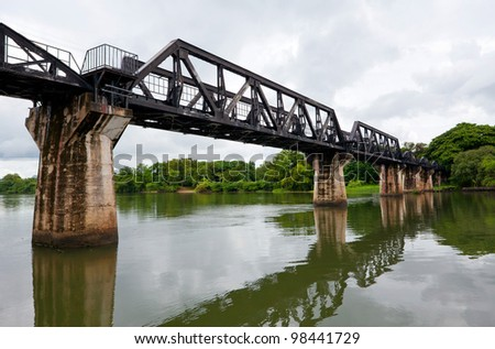 Historical bridge over the river Kwai - stock photo