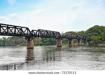 Historical bridge over the river Kwai, the death railway useful for study world war historical - stock photo