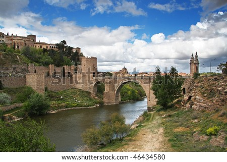 Historical Bridge over the Tagus river in Toledo, Spain