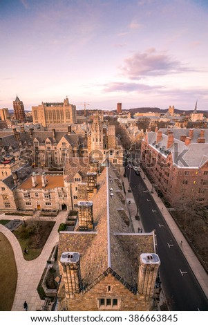 Historical building and Yale university campus in downtown New Haven CT, USA - stock photo