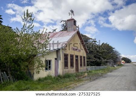 Historical building at the roadside, Estancia San Gregorio, Patagonia, Chile - stock photo