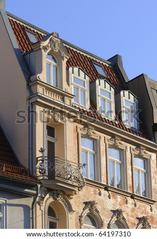 Historical building, detail; Anger square in Erfurt, Thuringia, Germany