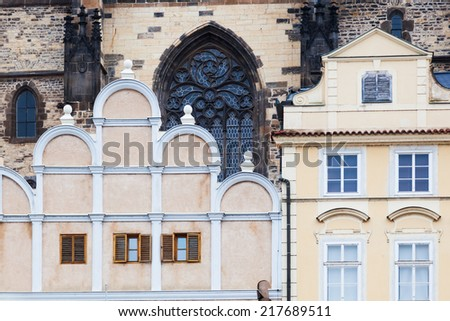 historical building in front of the Tyn Church at the Old Town Square of Prague, Czechia  - stock photo