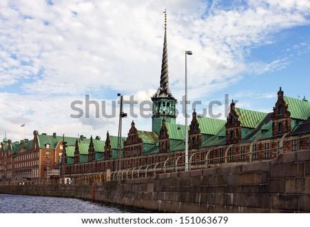 Historical building of Exchange in Copenhagen, Denmark. - stock photo