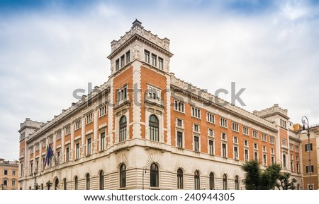 Historical buildings and architecture details in Rome, Italy: the Italian Parliament Building - stock photo