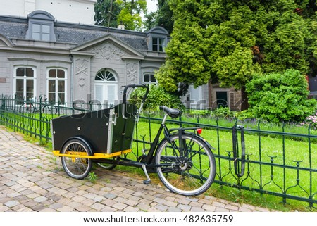 Historical buildings and bicycle vintage of Maastricht, Holland