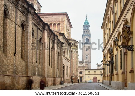 Historical buildings in old center of Parma, Italy. Cardinal Ferrari street. - stock photo