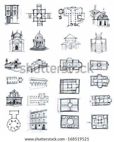 Historical buildings sketches - stock photo