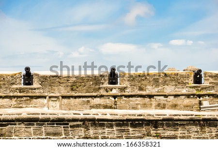 historical cannons at castillo de san marcos, st. augustine, florida - stock photo