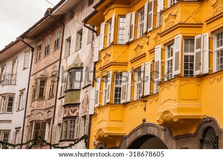 Historical center of Bolzano, Bozen, Trentino Alto Adige, Italy - stock photo