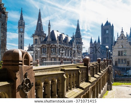Historical center of Ghent, Belgium - stock photo