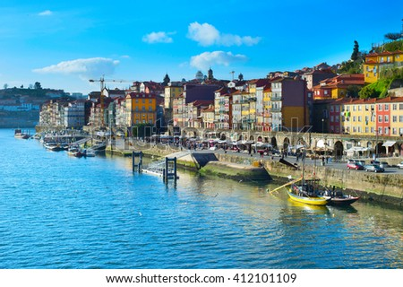 Historical center of Porto in the sunshine day. Portugal - stock photo