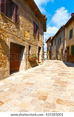 Historical Center with Old Buildings in Italian Medieval City  - stock photo