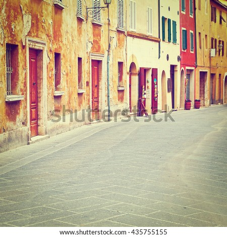 Historical Center with Old Buildings in Italian Medieval City, Instagram Effect  - stock photo