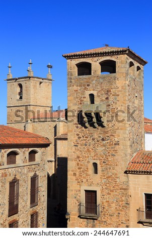 Historical centre of Caceres, Extremadura, Spain. UNESCO World Heritage Site.  - stock photo