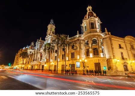 historical city hall in Valencia, Spain, at night - stock photo