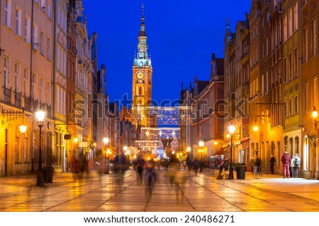Historical city hall on the old town of Gdansk, Poland - stock photo