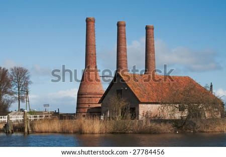 Historical Dutch factory to make lime from shells - stock photo