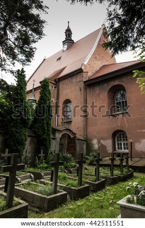 Historical, eight hundred years old convent, the nuns of the Benedictine abbey, Staniatki near Krakow in Poland - stock photo