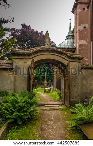 Historical, eight setletni convent, the nuns of the Benedictine abbey, Staniatki near Krakow in Poland - stock photo