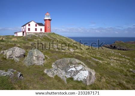 Historical Ferryland lighthouse, Newfoundland  - stock photo