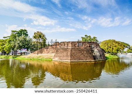 Historical fortress and ancient wall in chiang mai, landmark of  - stock photo