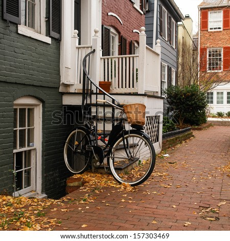 Historical Georgetown townhouses in Washington DC - United States - stock photo