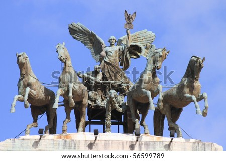 historical god of victory statue at Castle Saint Angelo, tomb of Roman emperor Hadrian in Rome - stock photo