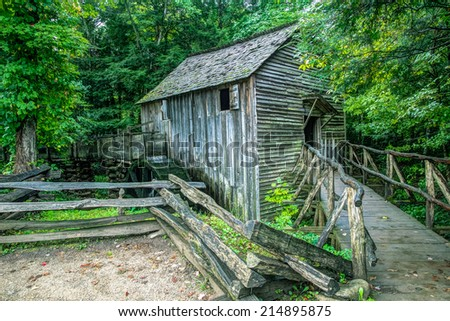 Historical Grist Mill. The Cable Grist Mill in Cades Cove is one of many historical structures located within the Great Smoky Mountains National Park. Gatlinburg, Tennessee.