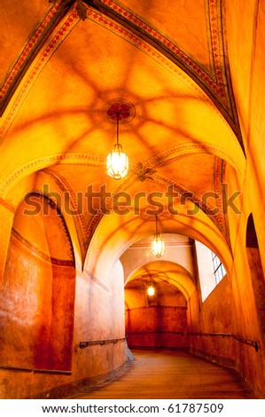 historical hallway in old castne, beautiful light - stock photo