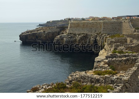 Historical harbour walls at Peniche, Portugal  - stock photo