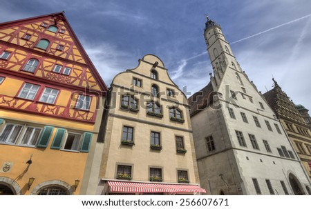 Historical houses and city hall of Rothenburg ob der Tauber, Germany - stock photo