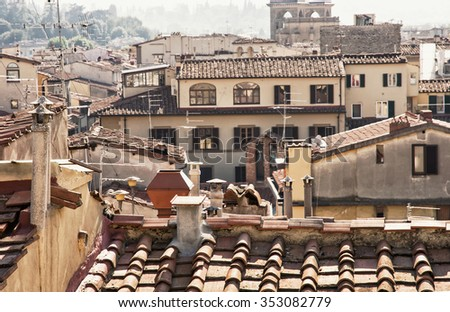 Historical houses in Florence, Tuscany, Italy. Cradle of the renaissance. - stock photo