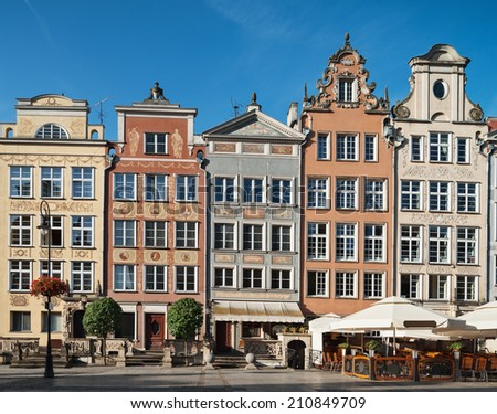 Historical houses in old town center of Gdansk, Poland