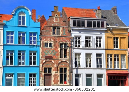 Historical houses with colorful facades in the old town of Ghent, Belgium - stock photo