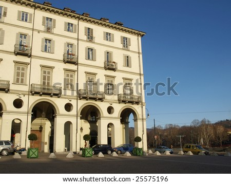 Historical housing in Piazza Vittorio, Turin, Italy - stock photo
