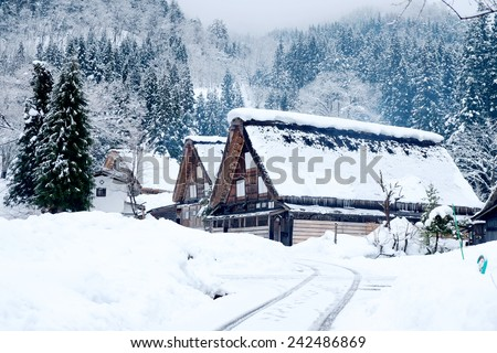 Historical Japanese Villages , Shirakawa-go , japan - stock photo
