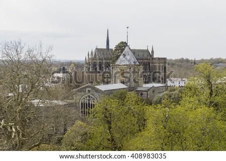 Historical landmark around Arundel Castle, United Kingdom - stock photo
